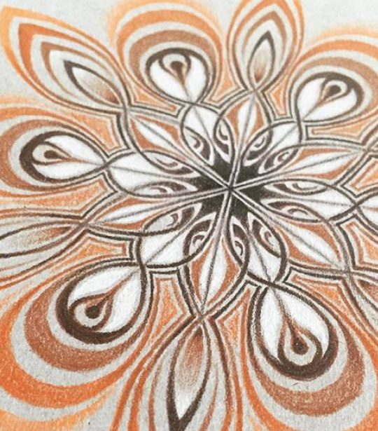 Mandala mandala's drawing drawings tekening tekeningen art pencil potlood pencildrawing potloodtekening paper papier caranD'ache wings vleugels wing vleugel Orange oranje white wit frame framed frames lijst