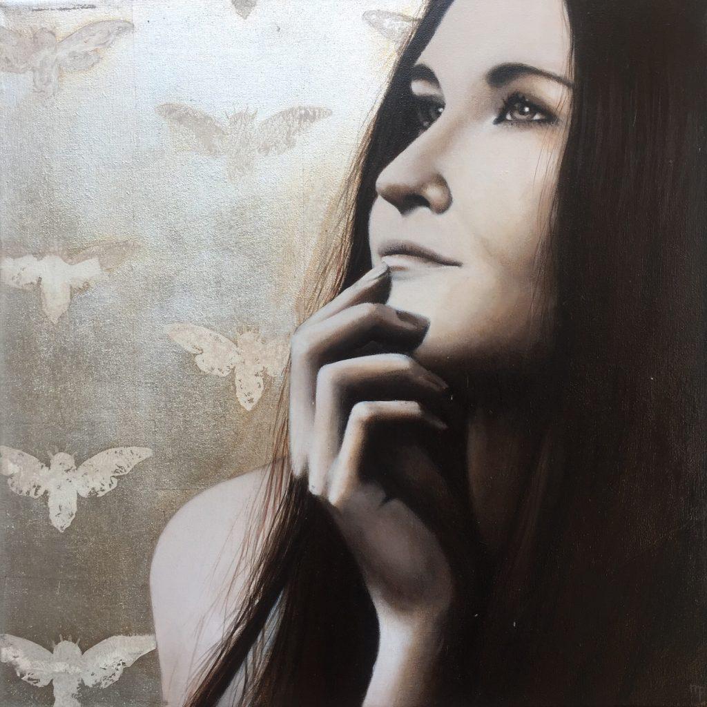 studie schilderijen met bladzilver, bladkoper, acryl op doek
