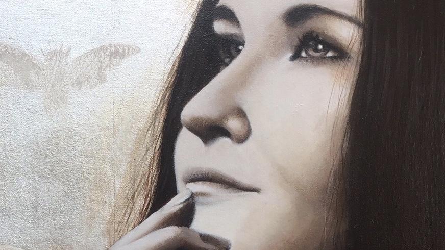 Painting schilderij paint schilderen acryl acrylic portret portrait portretten portraits realistic canvas brushes art artist portraitart kunsten kunst kunstenaar bladgoud bladzilver bladkoper vergulden bladmetaal mixed media