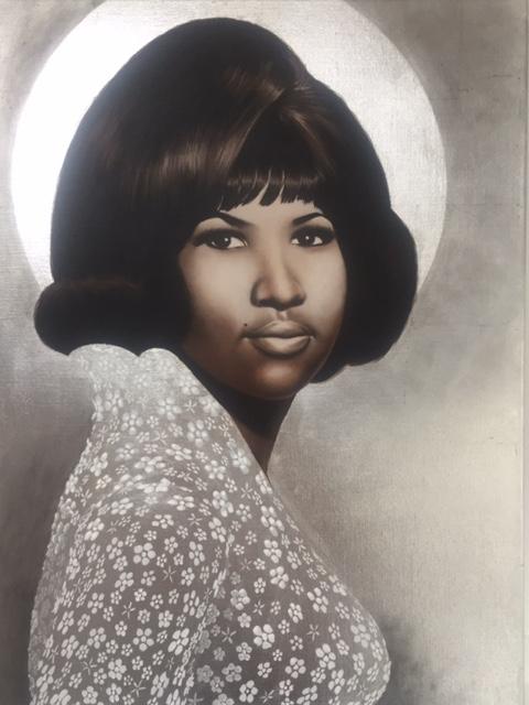 Painting schilderij Queen of Soul Aretha Franklin paint schilderen acryl acrylic portret portrait portretten portraits realistic canvas brushes art artist portraitart kunsten kunst kunstenaar bladgoud bladzilver bladkoper vergulden bladmetaal mixed media