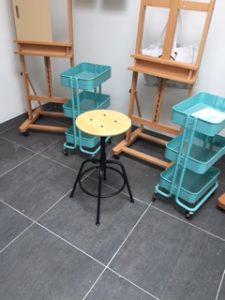 new nieuw atelier studio verbouwing kunst maken schilderen cursus workshop easel ezel inrichten werkruimte workspace bouwpakket so happy inspiratie inspiration my own