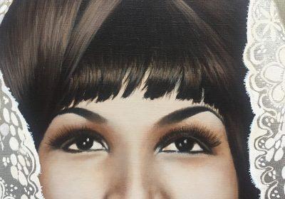 Painting schilderij paint schilderen acryl acrylic portret portrait portretten portraits realistic canvas brushes art artist portraitart kunsten kunst kunstenaar bladgoud bladzilver bladkoper vergulden bladmetaal mixed media Queen of soul Aretha Franklin
