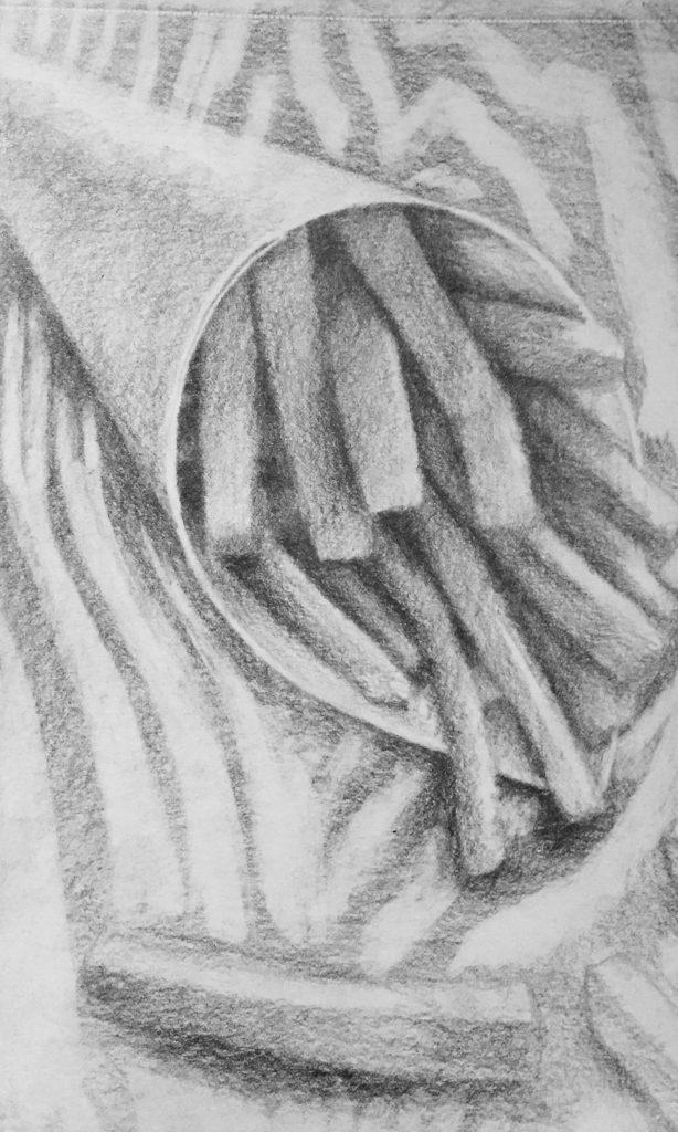 tekening drawing teken draw potlood pencil black/white black white zwart wit cursus tekenen leren oefenen contrasten licht donker values light dark lessons beginner gevorderd schetsen arceren papier paper drawpaper schetsboek sketchbook sketch sketching schets houtskool conte houtskoolpotlood tekencursus schildercursus Zoetermeer stilleven